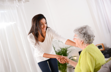woman shaking hands with senior